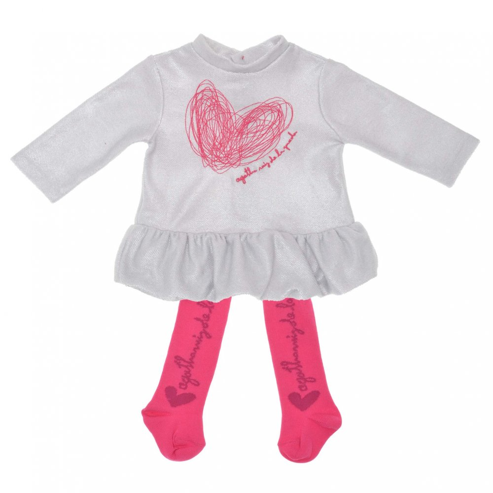 agatha ruiz grey dress with pink squiggle heart and pink. Black Bedroom Furniture Sets. Home Design Ideas