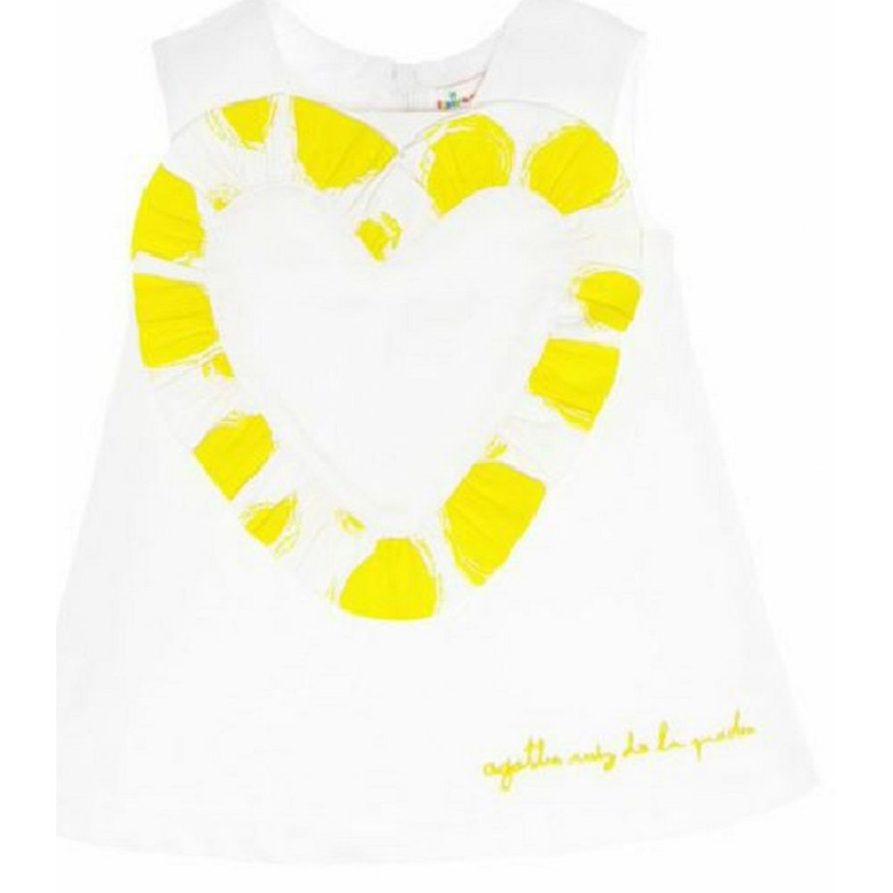agatha ruiz de la prada white dress with yellow heart. Black Bedroom Furniture Sets. Home Design Ideas
