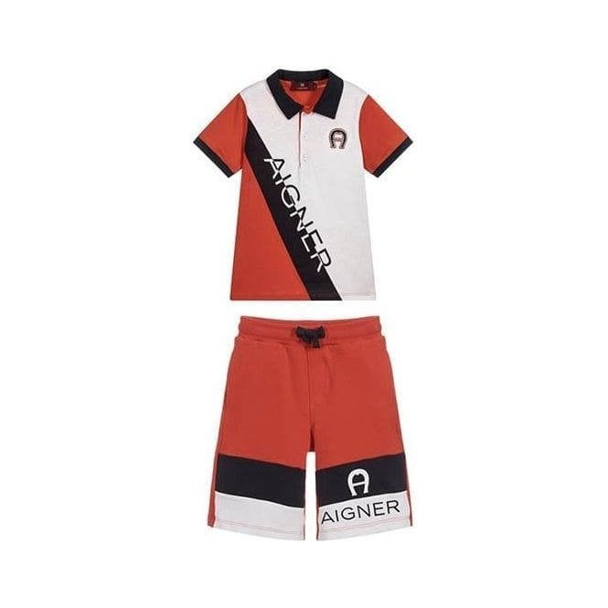 AIGNER Polo And Shorts Red