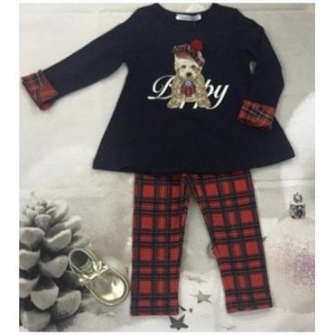 Top & Leggings Navy/tartan