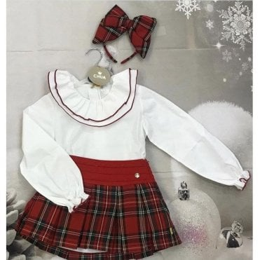 Top And Skirt White/red