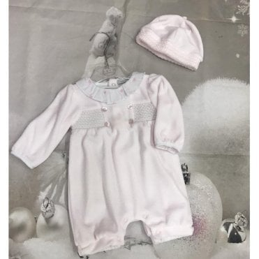 Romper And Hat Pink/white