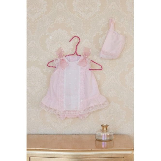 DOLCE PETIT Dress. Knickers And Bonnet Pink