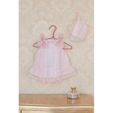 Dress. Knickers And Bonnet Pink