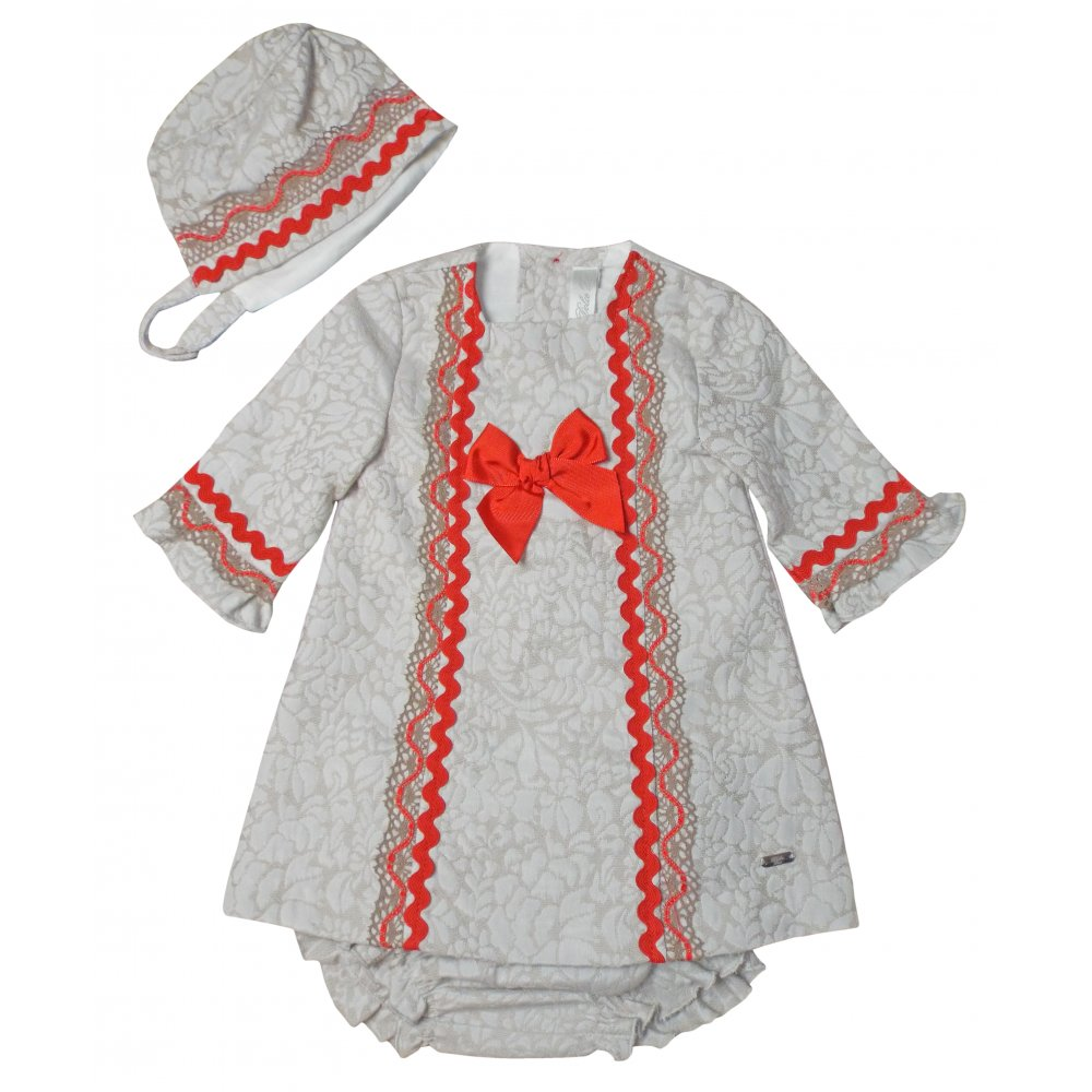 Dolce Petit Cream And Red Textured Dress With Matching