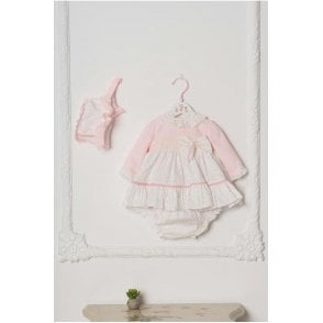 Dress  Knickers & Bonnet Pink/cream
