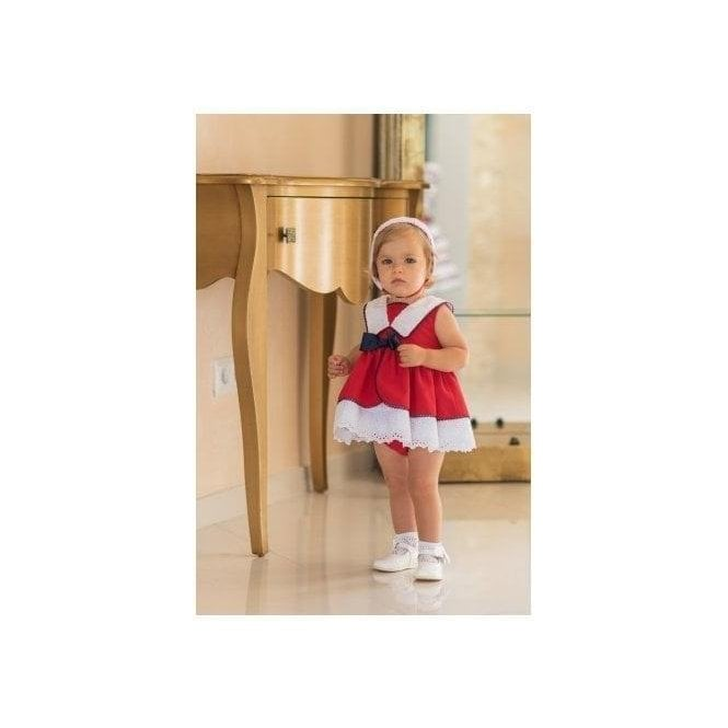 DOLCE PETIT Dress & Knickers Red Navy & White