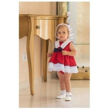 Dress & Knickers Red Navy & White