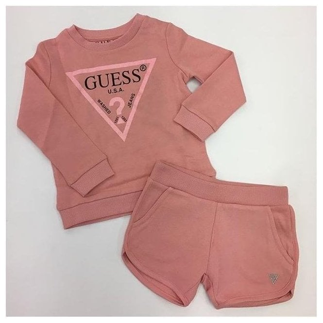 GUESS KIDS Sweat Shirt And Shorts Pink