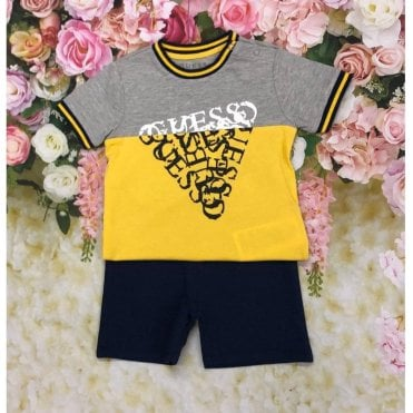 Top And Shorts Gray/navy/yellow