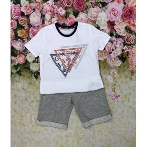 Top And Shorts White/grey