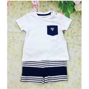 Top And Shorts White/navy