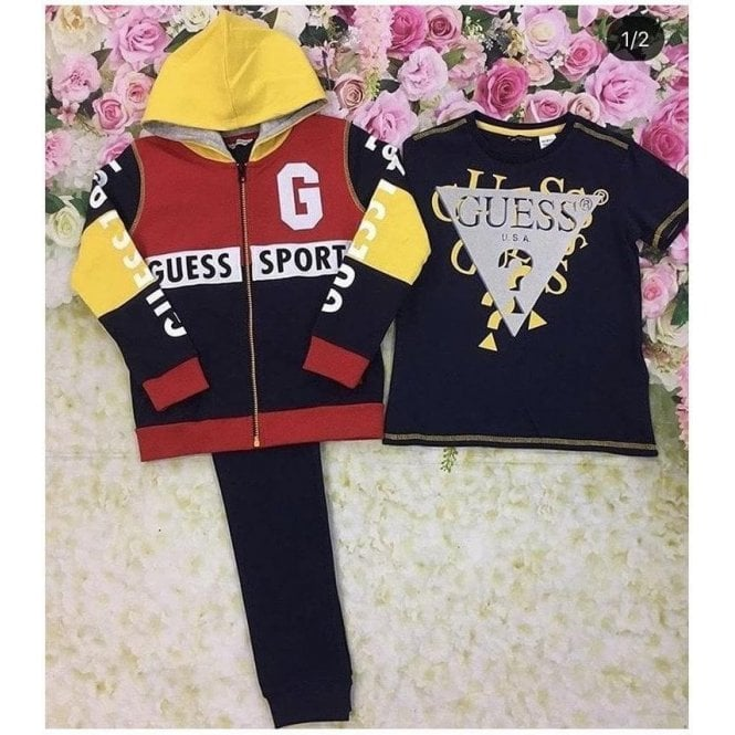 GUESS KIDS Tracksuit And T-shirt Red/navy/yellow