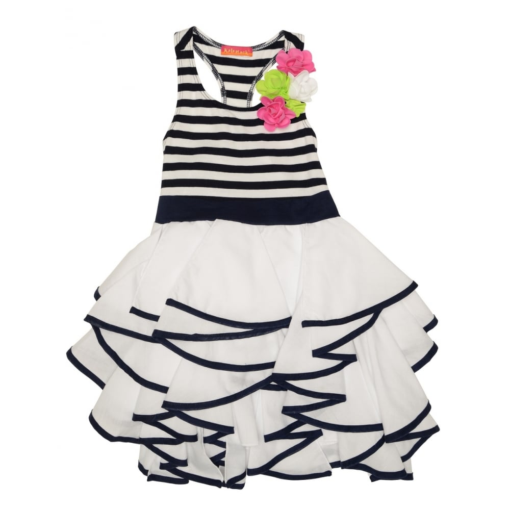kate mack white and black striped dress with ruffle skirt and