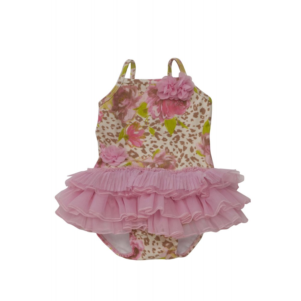 Kate Mack Leopard Print Pink Frilly Swimming Costume