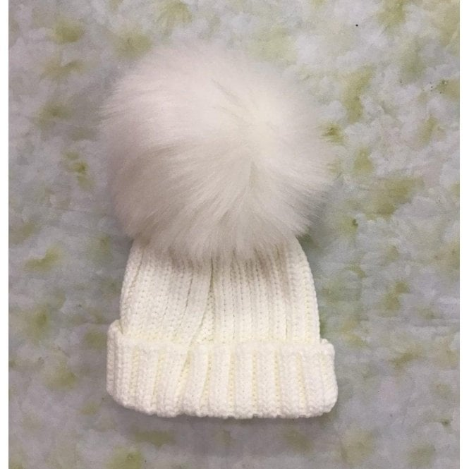 KINDER Single Pompom Hat Cream