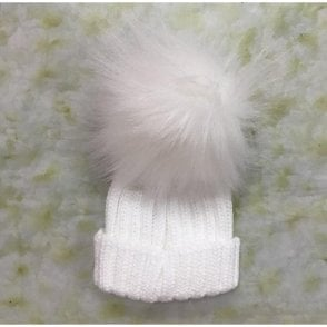 Single Pompom Hat White