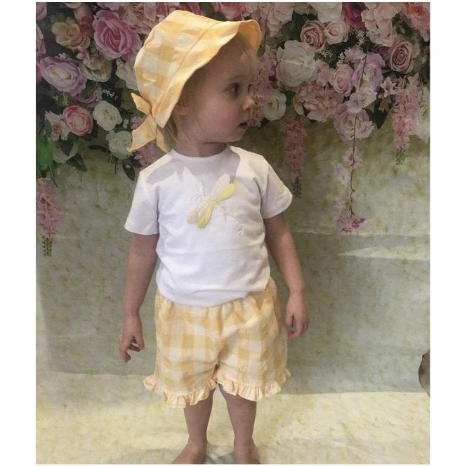 LALALU Top & Shorts White/yellow