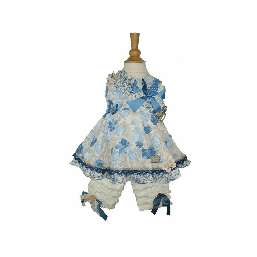 Little Darlings Cream And Blue Flower Print Dress With Matching