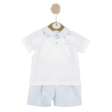 Top And Shorts White/blue