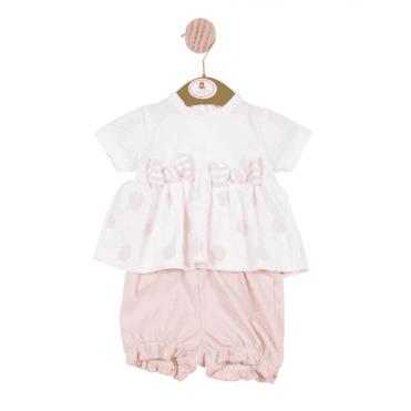 Top And Shorts White/pink