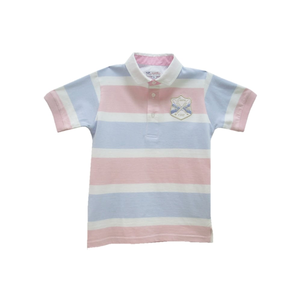 Miranda white blue and pink striped polo for Baby pink polo shirt