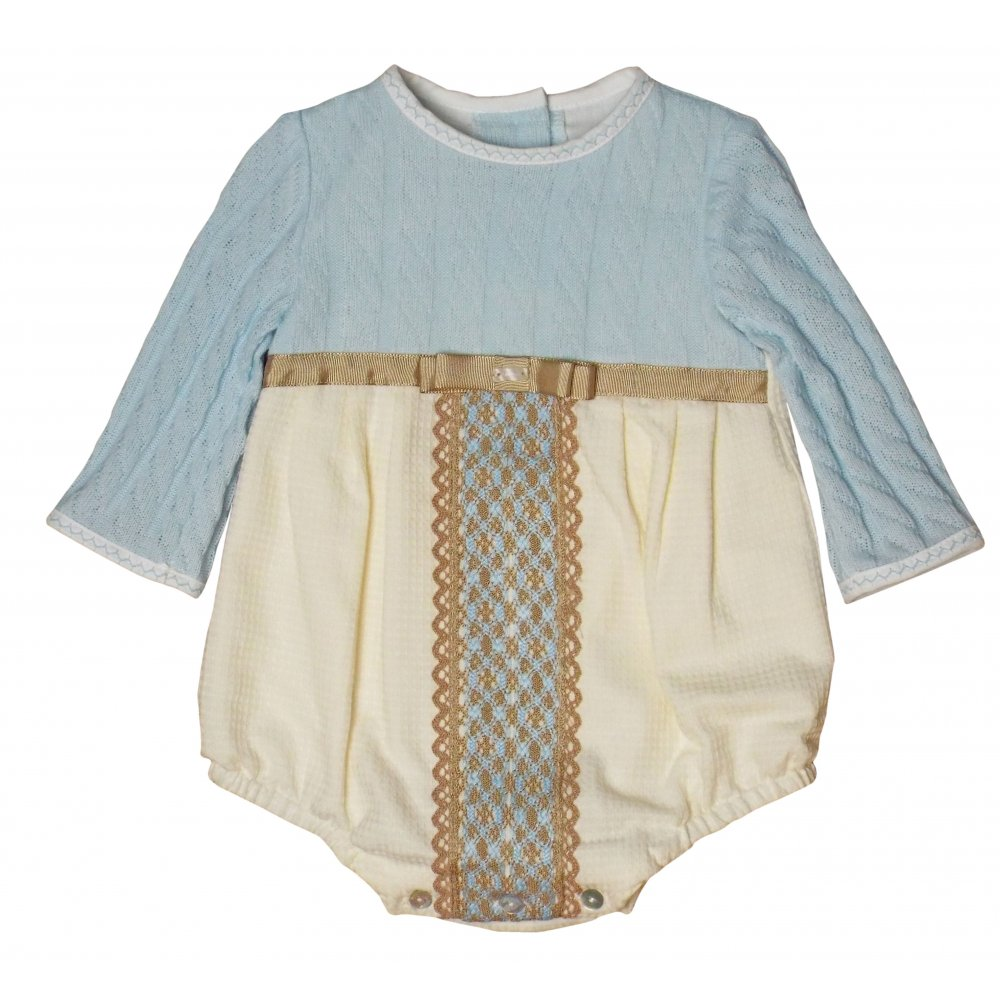 09b7c3b68 Miranda- Blue and cream top half knitted romper with brown detailing