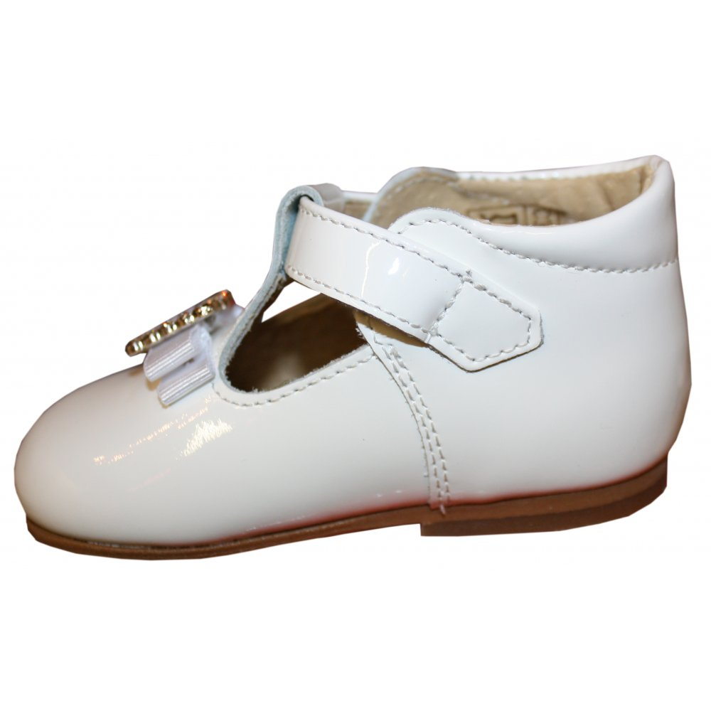 panyno white patent leather shoes with diamante buckle