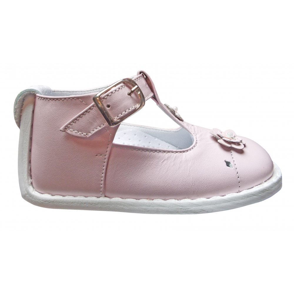 Pex Pink Ankle Support Shoe With Flower Detail