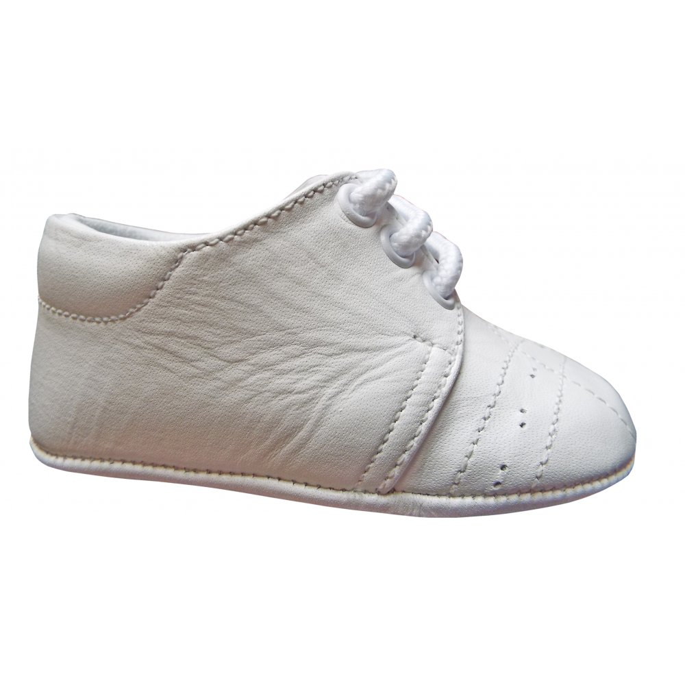 Pex- White leather soft sole shoes with