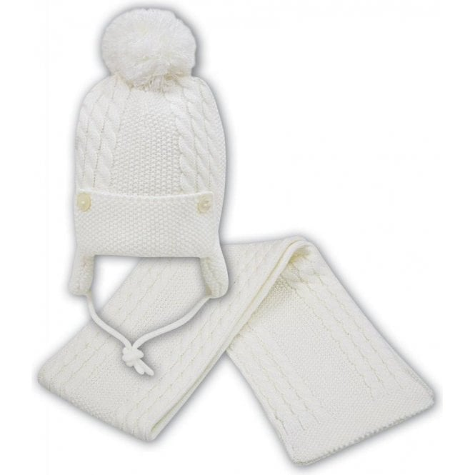 SARAH LOUISE Hat And Scarf Ivory