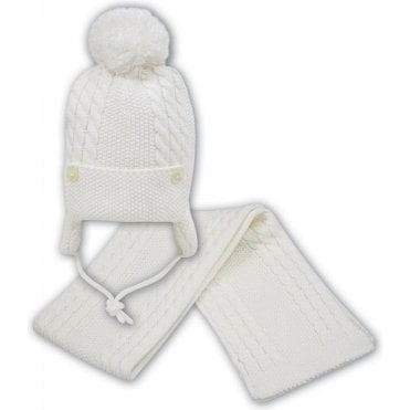 Hat And Scarf Ivory