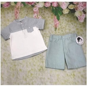 Top And Shorts White/mint