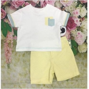 Top And Shorts White/yellow/blue