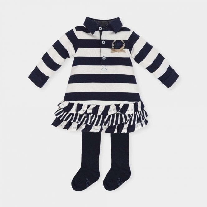 TUTTO PICCOLO Dress And Tights Navy/white