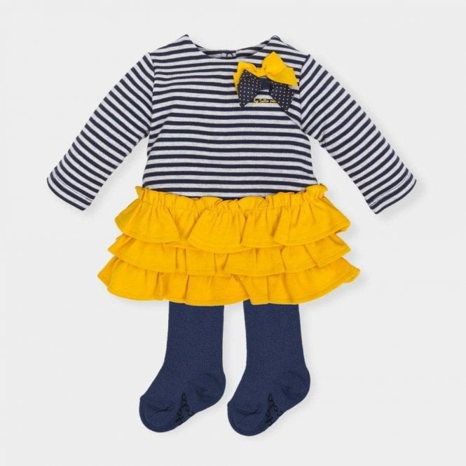 TUTTO PICCOLO Dress And Tights Navy & Yellow