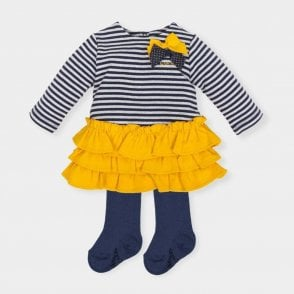 Dress And Tights Navy & Yellow