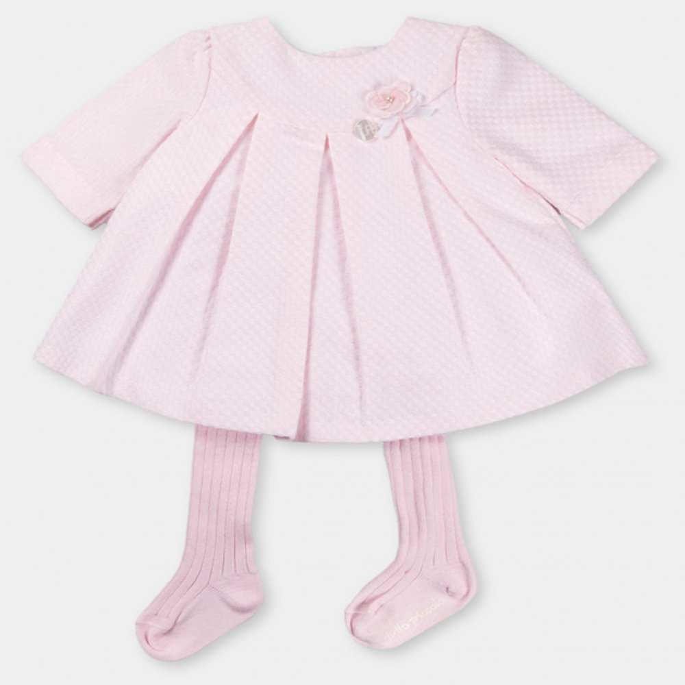 Tutto Piccolo Pink Textured Dress With Pink Tights And