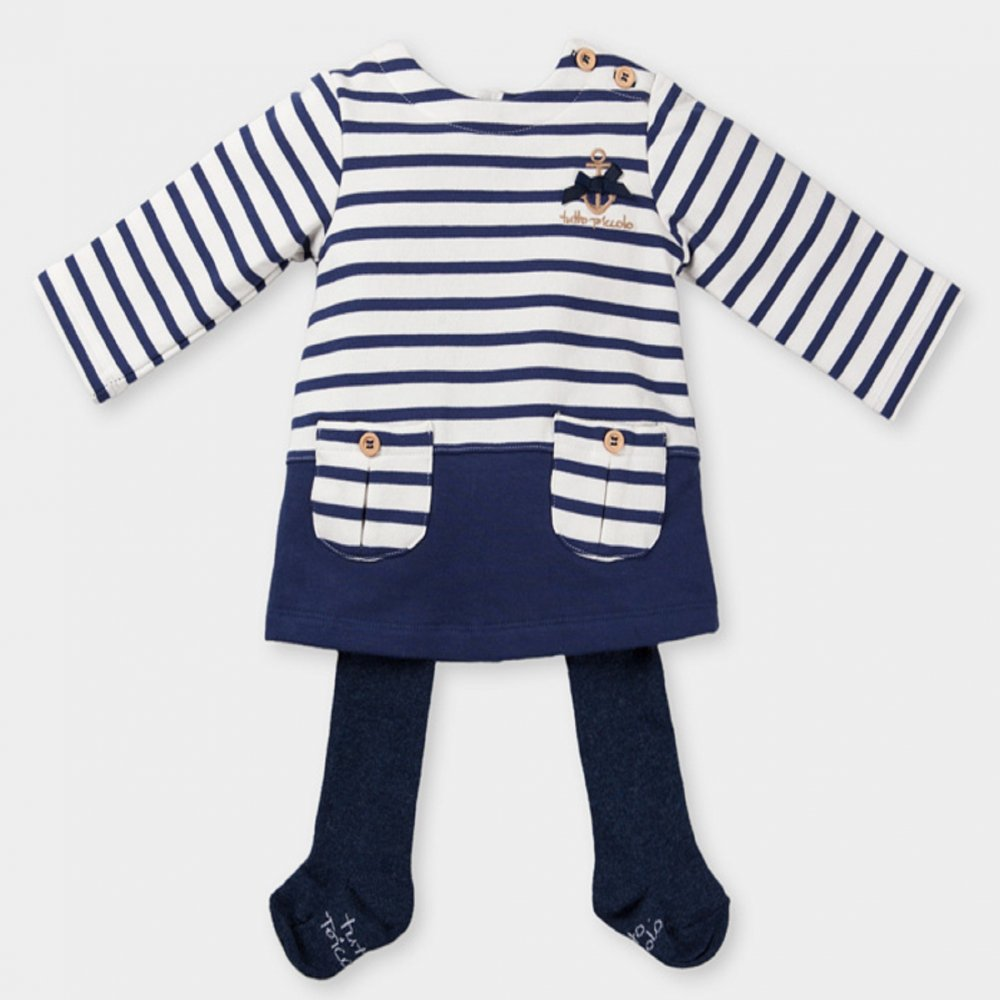a2445cd4d71 Tutto Piccolo- White and Navy striped dress with navy tights