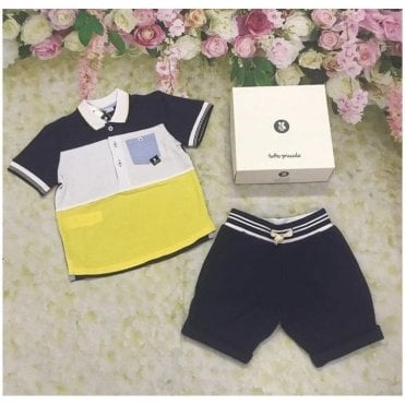 Polo And Shorts Yellow/navy/blue