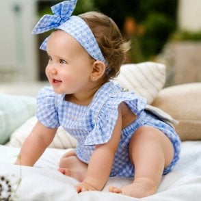 Romper And Head Band Blue/white