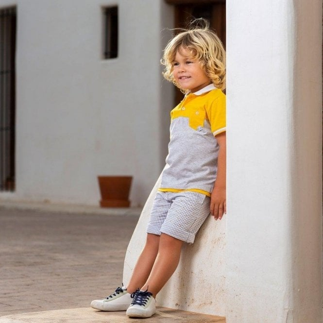 TUTTO PICCOLO Top And Shorts Grey/yellow
