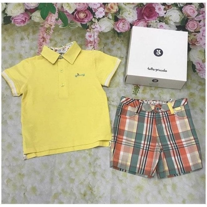 TUTTO PICCOLO Top And Shorts Yellow/green
