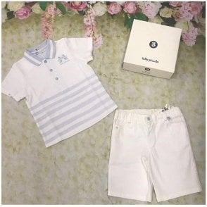 Top & Shorts White/blue