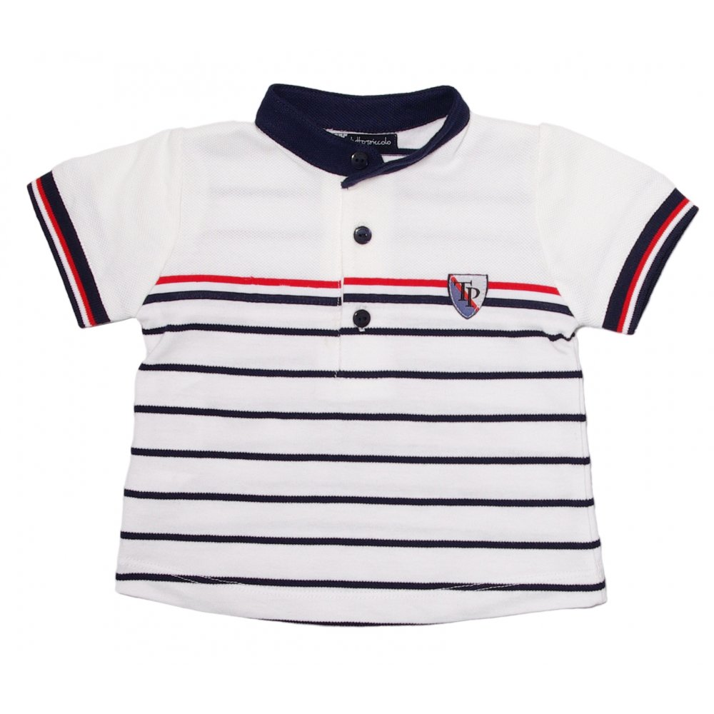 Tutto piccolo white navy red striped polo shirt for Red white striped polo shirt