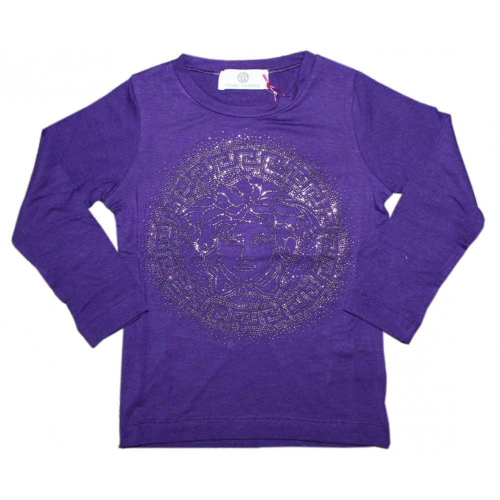 YOUNG VERSACE - Purple T-Shirt with Medusa Motif