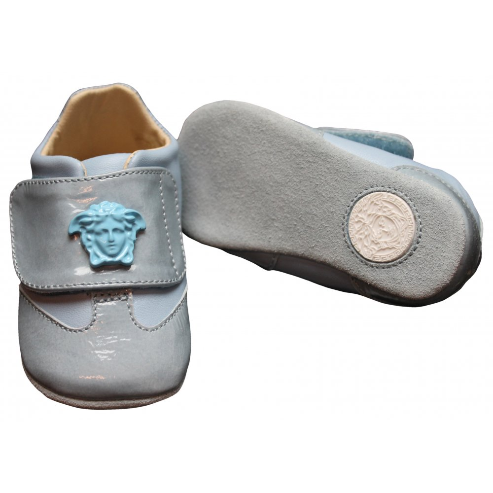 019c3f9a0384f Young Versace- Blue shoes with blue Medusa head logo velcro strap.