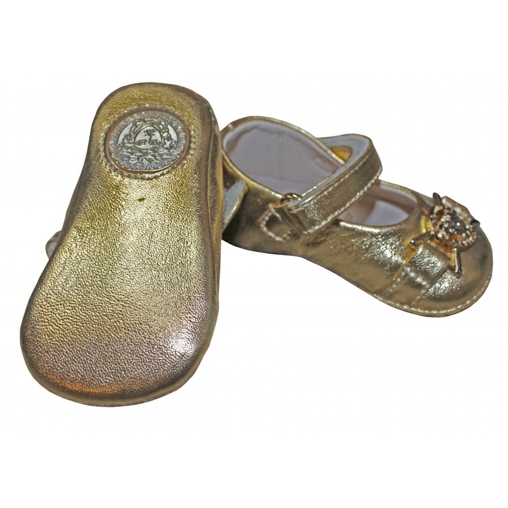 Young Versace- Gold soft sole shoes with Versace badge