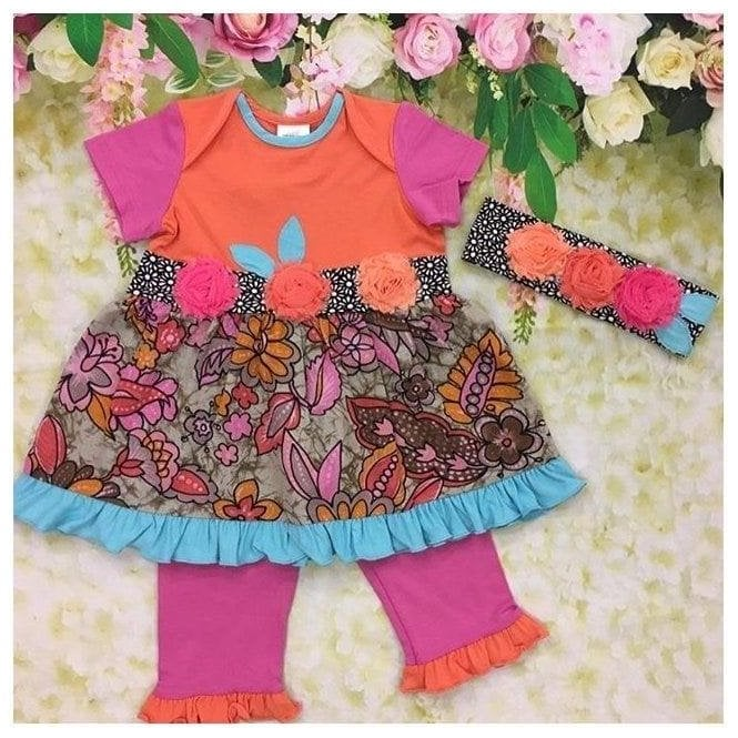 ZAZA COUTURE Dress Leggings & Headband Multicolour